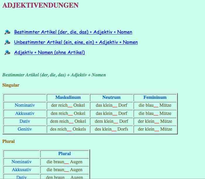 Learn German Adjective Endings Video ~ learn german easy books